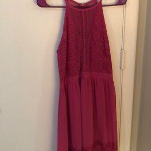 Francesca's pink high neck occasion dress